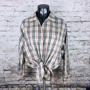 Burberry long sleeve button up size 14 large